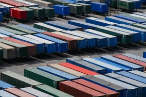 truck trailers at port containers