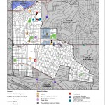 Map East Los Angeles highlighting public facilities