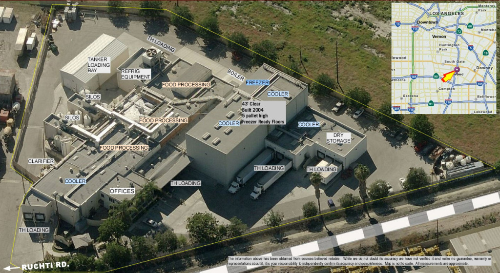aerial showing freezer, cooler, dock loading, and this food production facility property.